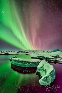 Gary Hart Photography: Aurora on Ice, Glacier Lagoon, Iceland
