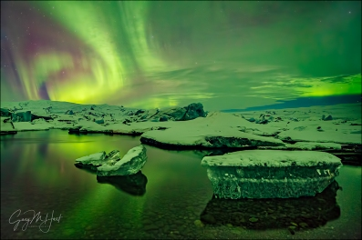 Gary Hart Photography: Aurora Reflection, Glacier Lagoon, Iceland