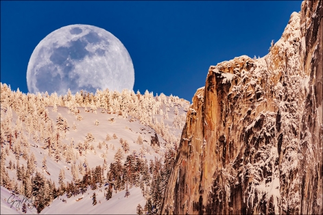 Gary Hart Photography: Winter Moonrise, Full Moon and Half Dome, Yosemite