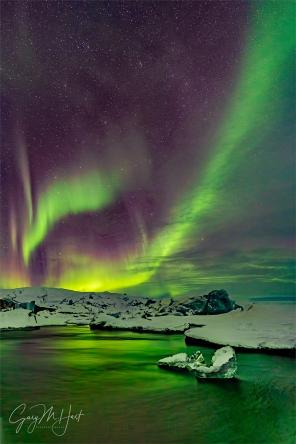 Gary Hart Photography: Green Streak, Aurora and Glacier Lagoon, Iceland
