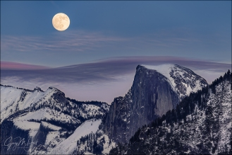 Gary Hart Photography: December Moon, Half Dome, Yosemite