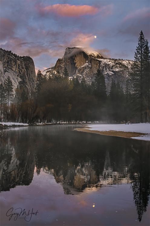 Gary Hart Photography: Winter Moon Reflection, Half Dome, Yosemite