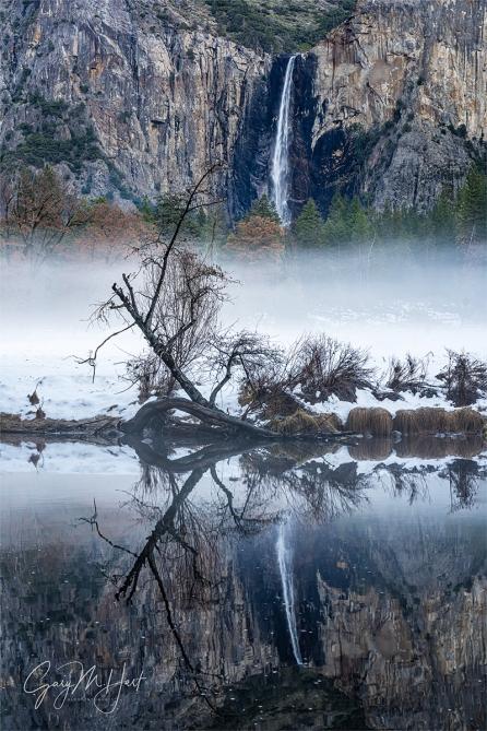 Gary Hart Photography: Winter Chill, Bridalveil Fall Reflection, Yosemite