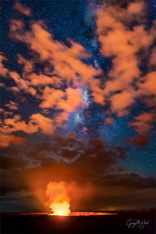 Gary Hart Photography: Fire on High, Kilauea and Milky Way, Hawaii