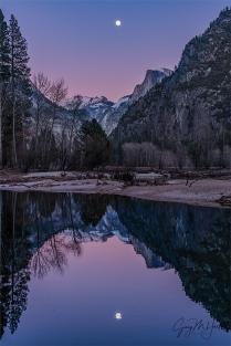 Gary Hart Photography: Magenta Moonrise, Half Dome and the Merced River, Yosemite