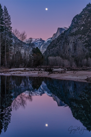Gary Hart Photography: Magenta Moonrise, Half Dome and the Merced River, Yosemite