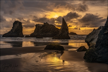 Gary Hart Photography: Howling Dog at Sunset, Bandon Beach, Oregon