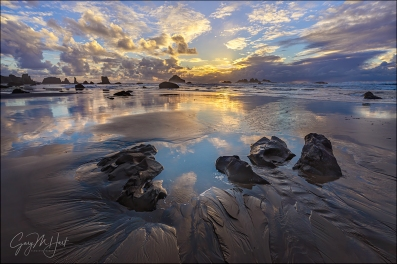 Gary Hart Photography: Sand Like Glass, Bandon Beach Sunset, Oregon