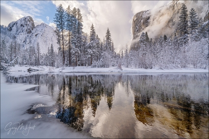 Gary Hart Photography: Winter Reflection, El Capitan and Cathedral Rocks, Yosemite