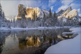 Gary Hart Photography: Winter Reflection, El Capitan and Three Brothers, Yosemite