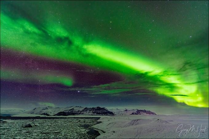Gary Hart Photography: Heaven Sent, Aurora Above Glacier Lagoon, Iceland