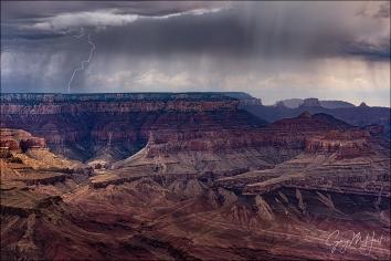 Gary Hart Photography: Rain and Lightning, Lipan Point, Grand Canyon