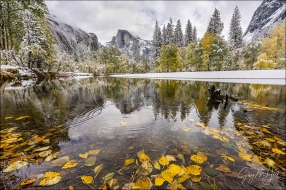Gary Hart Photography: Autumn Snow, Half Dome Reflection, Yosemite
