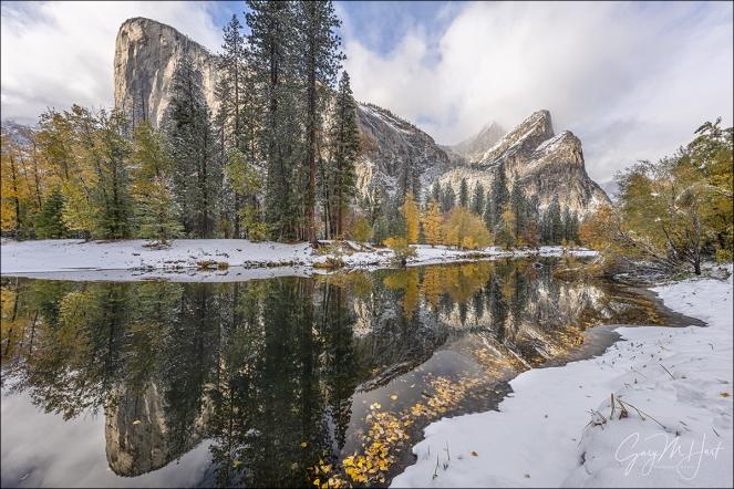 Gary Hart Photography: Autumn Snow, El Capitan and Three Brothers Reflection, Yosemite