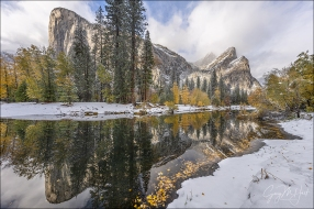 Gary Hart Photography: Autumn Snow, El Capitan and Three Brothers Reflection, Yosemite