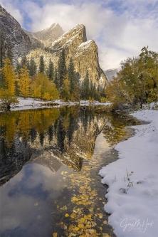 Gary Hart Photography: White Gold, Three Brothers Reflection, Yosemite