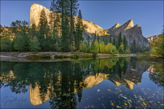 Gary Hart Photography: Autumn Reflection, El Capitan and Three Brothers, Yosemite