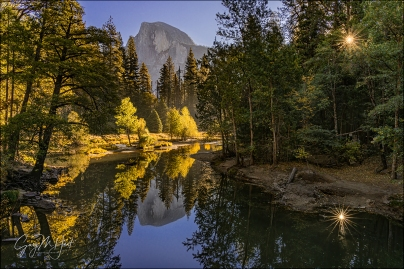 Gary Hart Photography: Autumn Morning, Half Dome and Sunstar from Sentinel Bridge, Yosemite