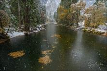 Gary Hart Photography: Falling Snow, Cathedral Rocks, Yosemite