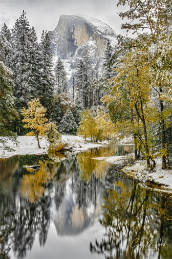Gary Hart Photography: Autumn Snowfall Reflection, Half Dome, Yosemite