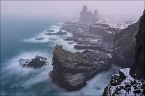 Gary Hart Photography: Winter Fog, Londrangar Basalt Cliffs, Iceland