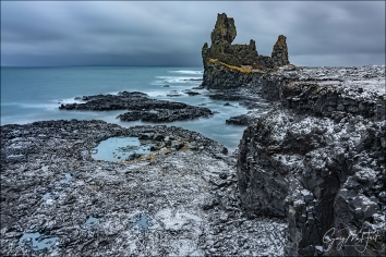 Gary Hart Photography: Snow on the Rocks, Londrangar Basalt Cliffs, Iceland