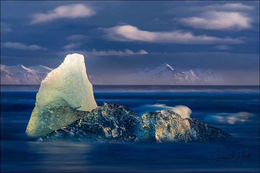 Gary Hart Photography: Blue Hour, Diamond Beach, Iceland