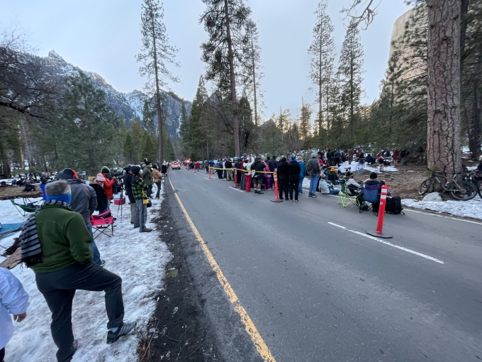 16Feb21 Horsetail Fall Crowd, Northside Drive, Yosemite