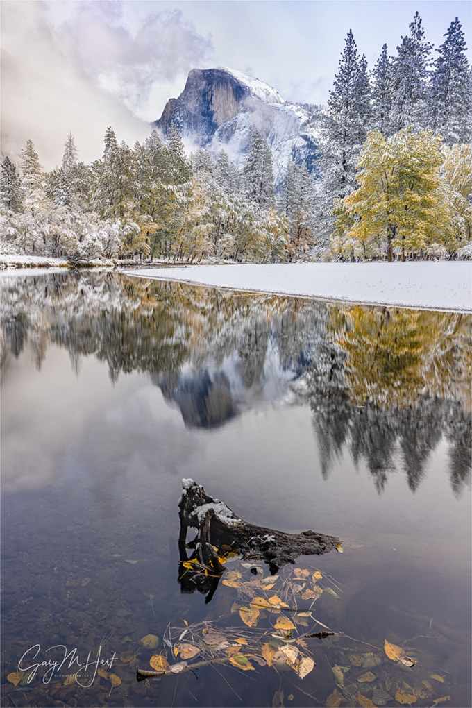 Gary Hart Photography: Autumn Snow and Reflection, Half Dome, Yosemite