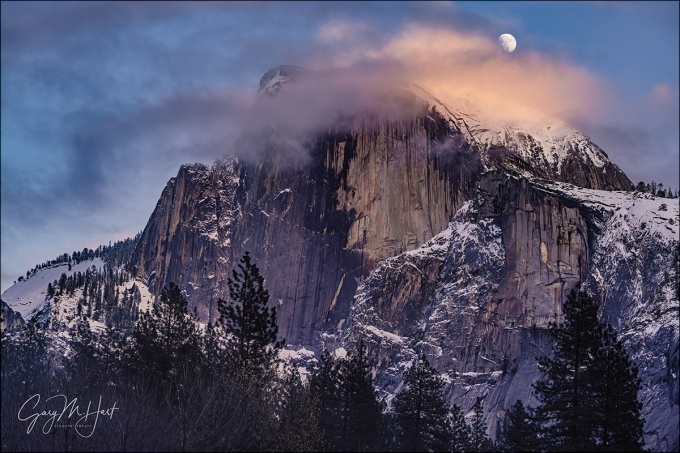 Gary Hart Photography: Moonrise Through the Clouds, Half Dome, Yosemite